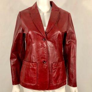 Vintage Gap Crimson 100% Leather Blazer
